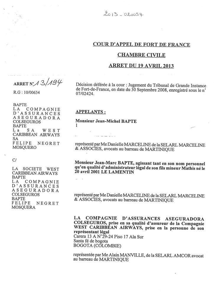 Indemnisation West Carribean Airways : Jugement du TGI de Fort-de-France en date du 30 septembre 2008 (1)