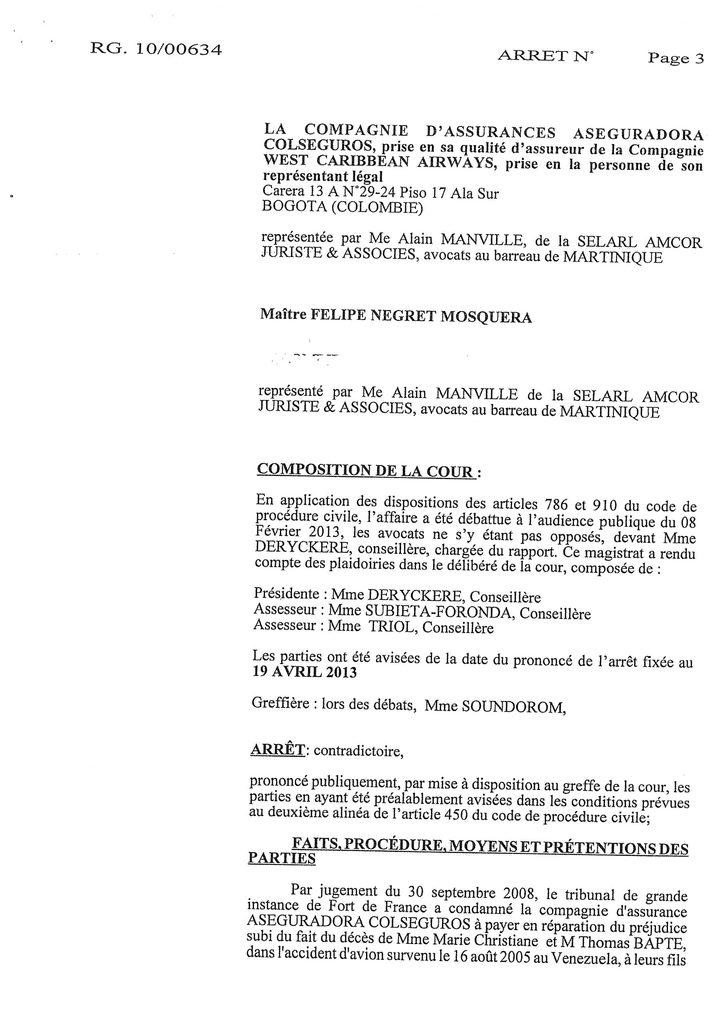 Indemnisation West Carribean Airways : Jugement du TGI de Fort-de-France en date du 30 septembre 2008 (3)