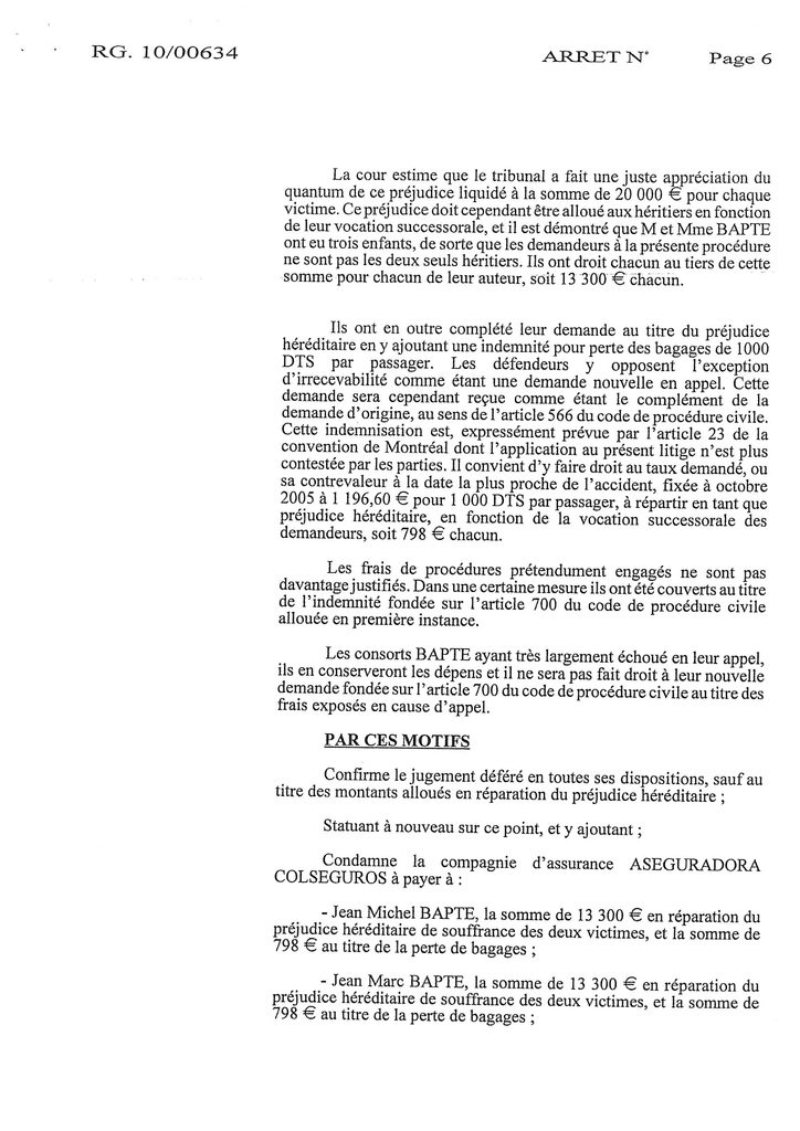 Indemnisation West Carribean Airways : Jugement du TGI de Fort-de-France en date du 30 septembre 2008 (6)