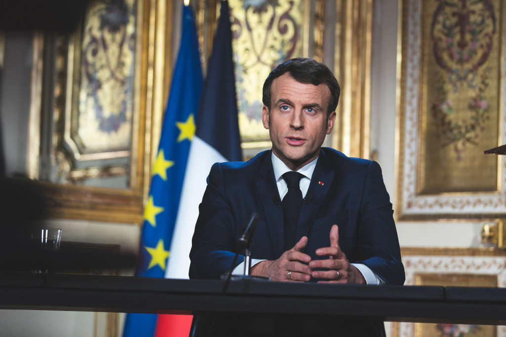 President Macron speaking on French Television, March 16, 2020 © Élysée